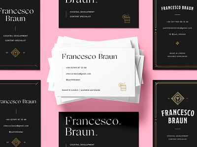 Francesco Braun - business cards gold typography mockup bartender drink cocktail pink foil print visitcard business card vcards visit cards