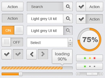 Light grey UI kit ui design interface buttons search loading web design user interface scroll bar