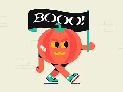 Booo! dribbble warm-up warm-up illustrator vector illustration vector flag sneakers walking carachter design character evil spooky halloween pumpkin