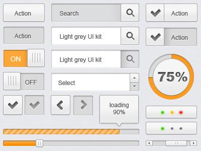 free PSD - light grey UI kit user interface freebie user interface ui button scrollbar loading checkbox search tooltip free psd progress bar check button