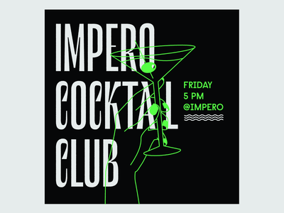 Impero Cocktail Club impero martini hand cocktail letters type lettering illustration typography vector