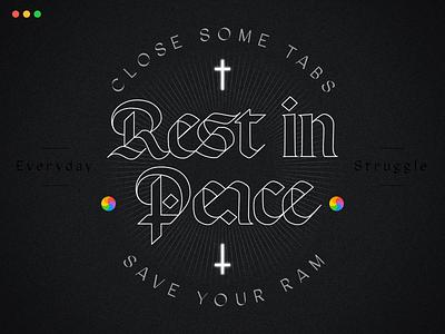 RIP cross wheel mac apple branding letters type lettering illustration typography vector