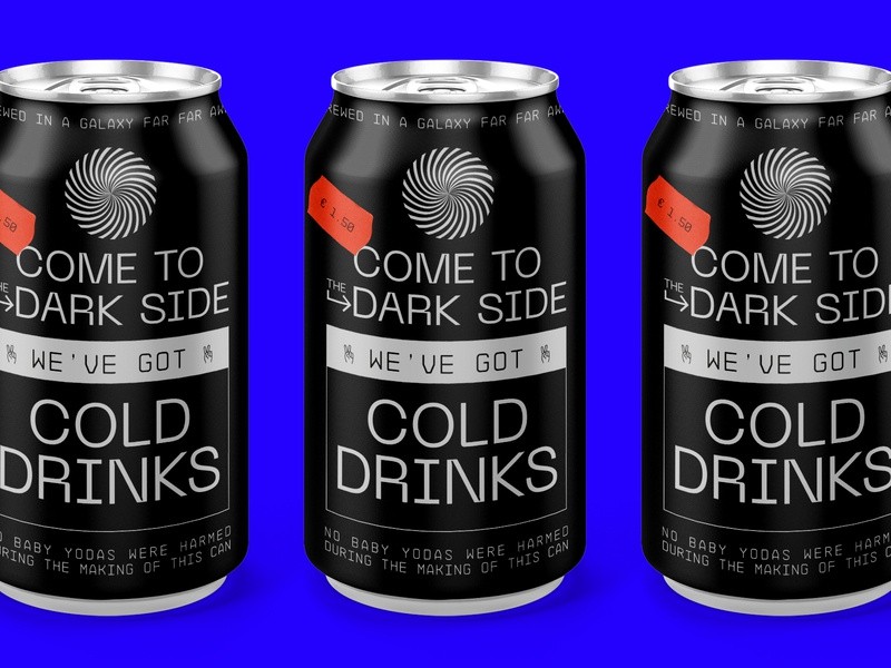 Unknown Imperial Drink warmup black pack can drink packaging dark side yoda baby yoda star wars starwars illustration letters type branding typography