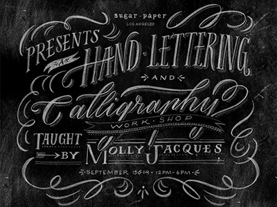 Sugar Paper Workshop hand lettering calligraphy workshops illustration chalkboard
