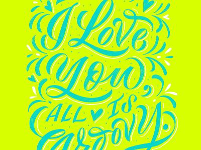 Groovy illustration chalkboard calligraphy hand lettering lettering