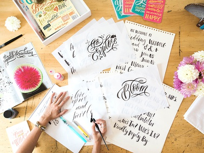 Desktop Shot modern calligraphy hand lettering calligraphy workspace lettering chalkboard illustration