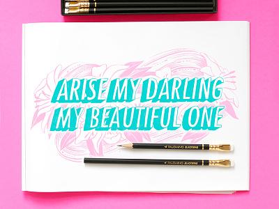 Arise modern calligraphy hand lettering calligraphy workspace lettering chalkboard illustration