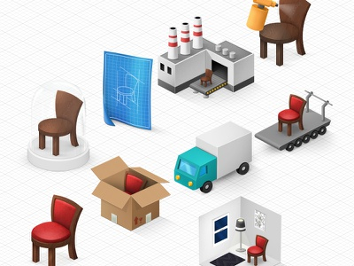 Family of icons for a furniture configurator icons fake3d