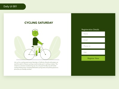 Daily Ui - Cycling Event Registration fitness health event cycle uiinspiration dailyui adobexd userexperience ux ui