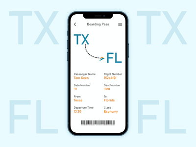 Boarding pass app page for airline enjoy fun airline pass ticket boarding travel design dailyui ux ui interaction adobexd userexperience
