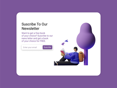 Subscribe to our news letter Daily UI tree education library book subscribe newsletter email figma design dailyui ui ux interaction userexperience