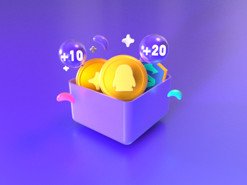 gift-QQ 3d icon white newgift gift green pink purple yellow star coin golden qq brand icon ui c4d 设计