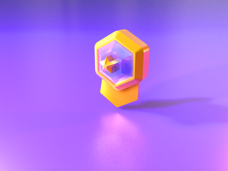 Match badge 3D icon game hexagon green blue yellow purple star copper silver gold icon brand ui 3d c4d 设计