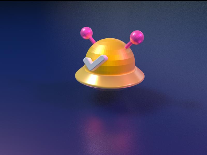 UFO 3D icon 打勾 space universe star pink yellow ufo brand icon ui c4d 设计