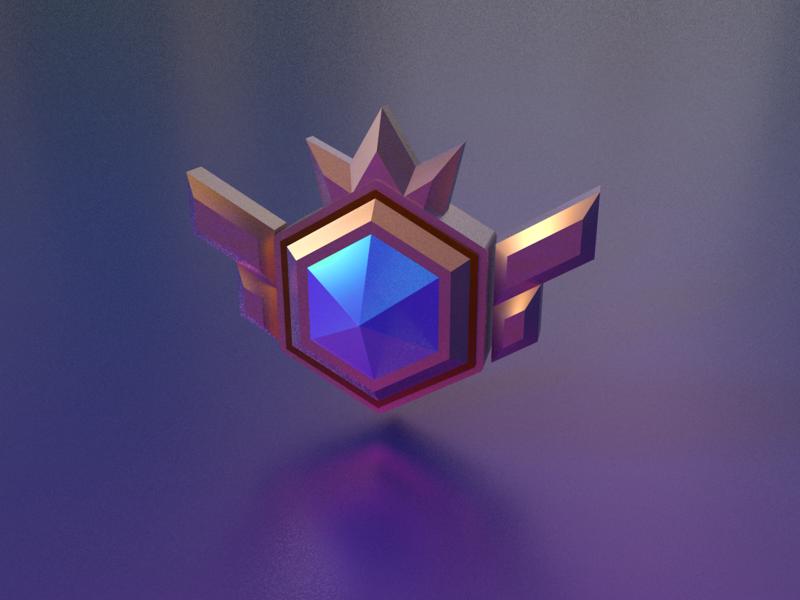 3D badge hexagon king dark crystal metal blue logo 图标 品牌 ui c4d 设计