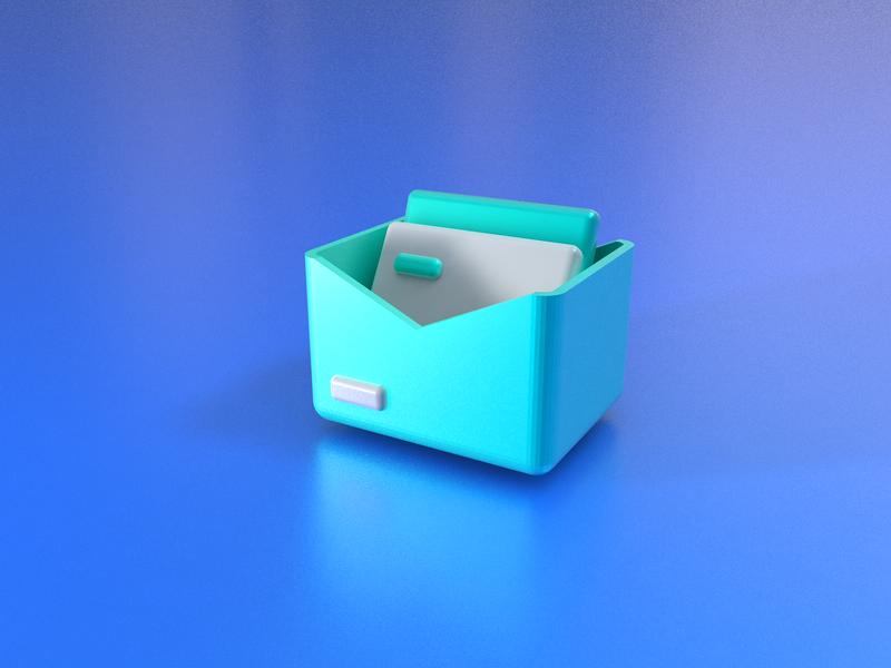 3D icon message letter green box message logo 品牌 icon 3d c4d ui 设计