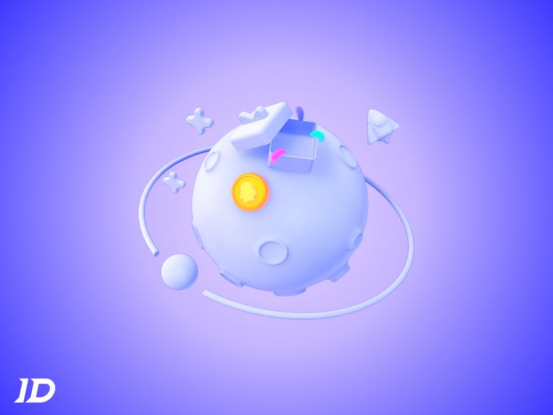 illustration of 3D - Game planet ufo rocket game packet coin star planet logo illustration 品牌 3d c4d ui 设计