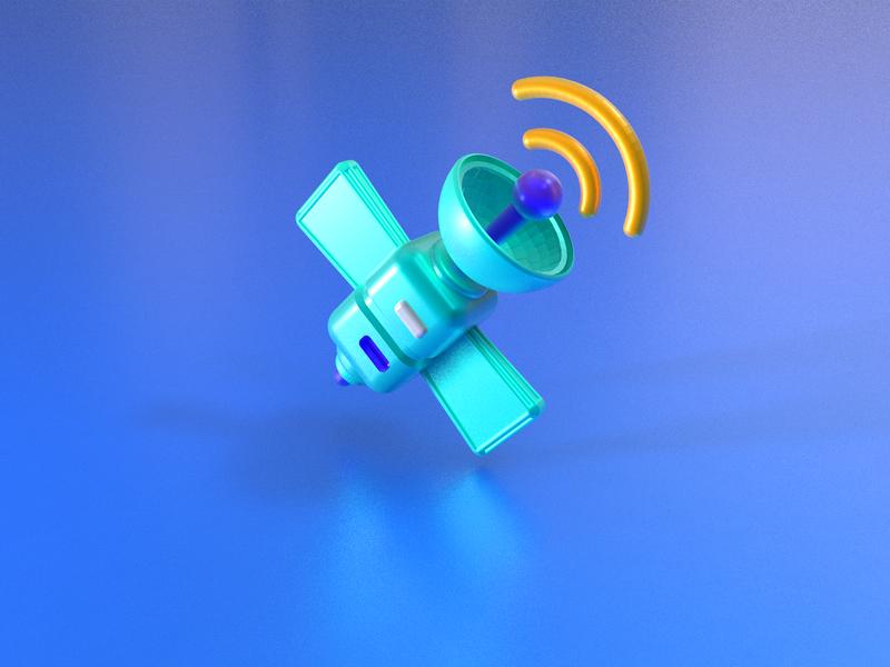 3D icon-Satellite signal blue satellite icon 品牌 3d c4d ui 设计