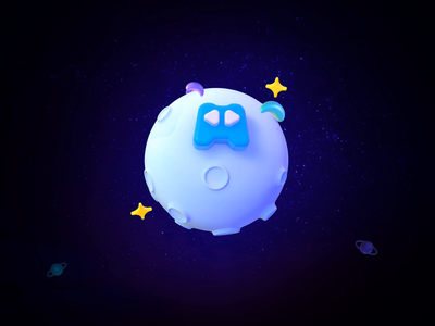 3D Rocket around the planet star uneverse rocket planet icon ui 3d c4d 设计