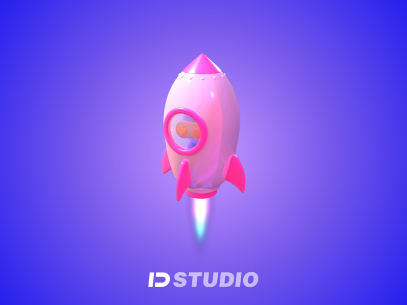 the new 3D-Rocket-icon new universe sky pink rocket illustration 3d icon c4d 设计