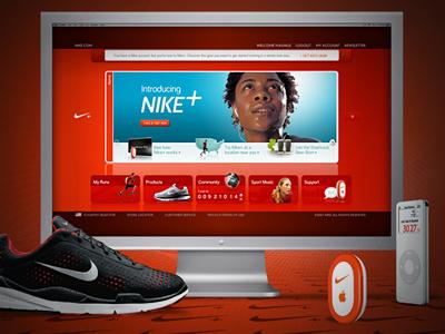 Nike Plus nike plus nike user interface ipod red ux ui sport website