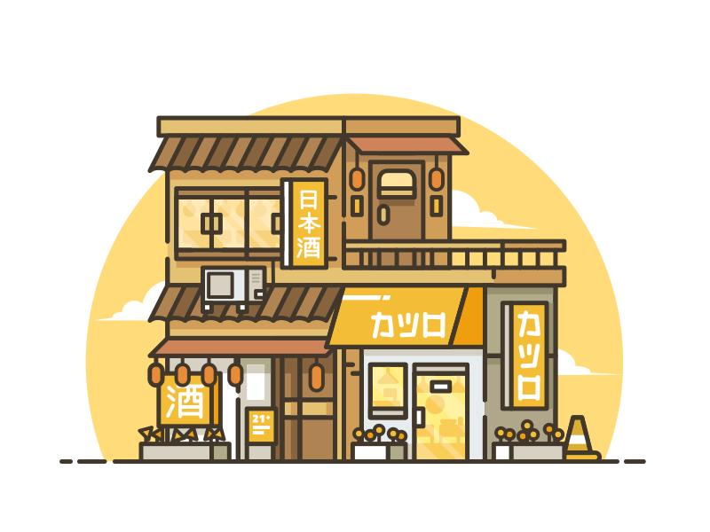 Sake Bar and Katsu Restaurant (N2) wood honey japan store vector line icon sake restaurant city building architecture