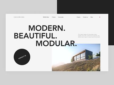 Modular Houses typography concept minimal clean ui design design web design web interface ui