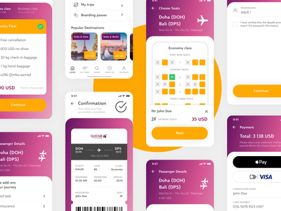Qatar Airways App – Booking flow design concept minimal clean qatar flight app airways mobile app design mobile app mobile interface ux ui