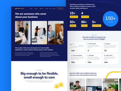 Gecko Dynamics Website –About page yellow blue friendly clean minimalistic about company web corporate visual web design website design