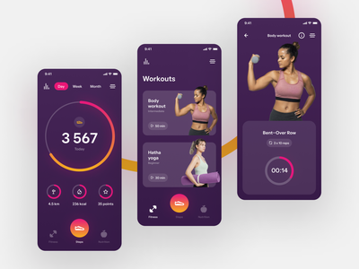 ~ fitness & yoga mobile app ~ clean minimalistic yellow purple workout yoga fitness product design interface app mobile ux design ui design