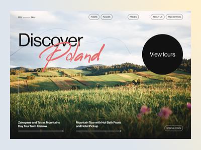 ~ discover poland –travel website ~ website design visual design ui design landscape clean discover poland bold minimalistic quide tourism poland adventure travel website