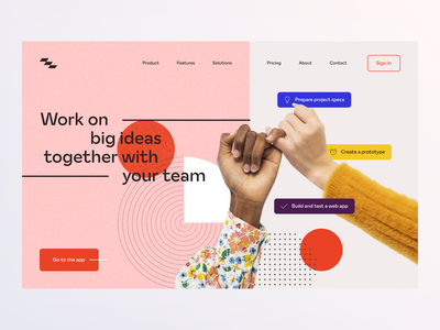 ~ project management landing page ~ red pink product ux design ui design clean geometry colorful minimalistic website landing page tool team project management