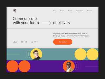 ~ team communication tool – website ~ web ui design new minimalistic clean people geometric grid visual design website landing page app web app chat team tool communication