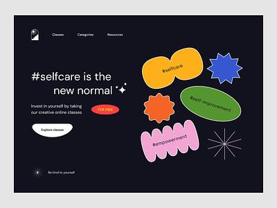 ~ #selfcare website ~ educational website landing page web design abstract dark colorful visual design ui design empowerment awareness self development self-improvement selfcare