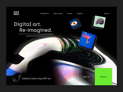 ~ digital art NFT –marketplace ~ website design ux ui landing page dark art abstract visual web design website bitcoin nfts crypto art crypto cryptoart nftart marketplace token nft marketplace nft