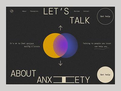 ~ anxiety awareness website ~ ui abstract darkmode minimalism ui design dark ui visual design website design web design therapy wellness self care mentalhealth mental health awareness mental health anxiety
