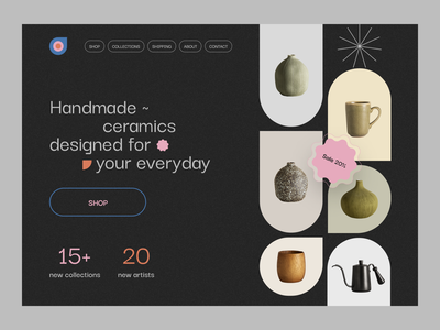 ~ handmade ceramics website ~ aesthetics product product design vase kettle handmade ui ux clean ux ui website design web design landing page minimal minimalist pottery ceramics