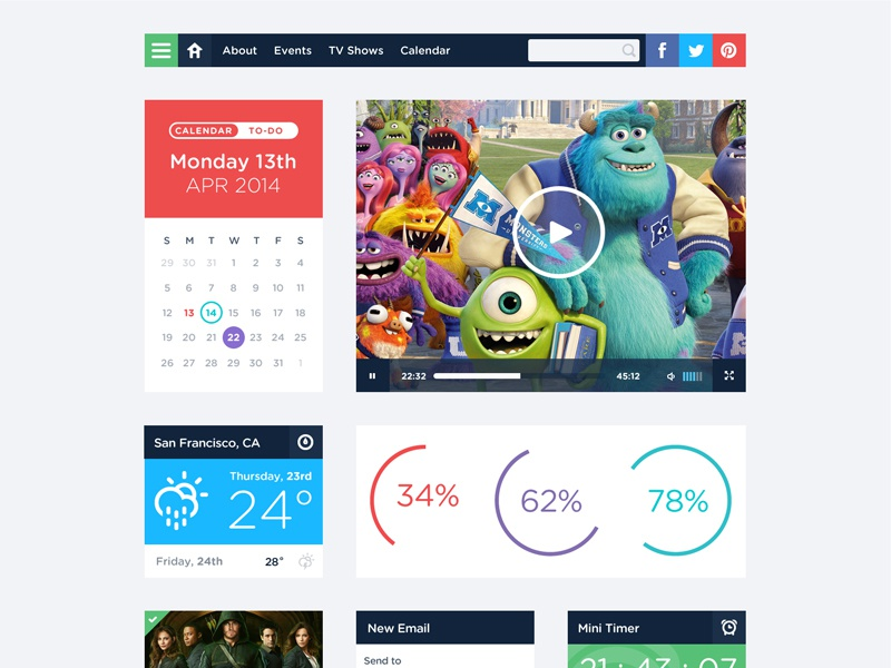 Free UI Kit PSD ui kit user interface flat simple clean login calendar profile weather mailbox