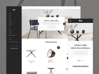 Home desktop + mobile ecommerce nav sidebar grid theme shop minimal ui