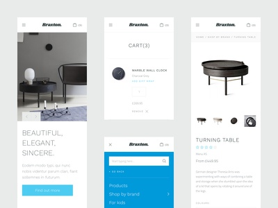 Mobile screens ui theme interface fresh ecommerce clean mobile menu home product cart