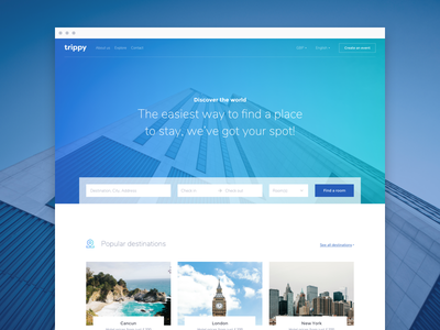 Home exploration gradient fresh clean design web ux ui