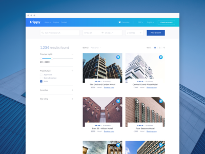 Results grid gradient fresh clean design web ux ui