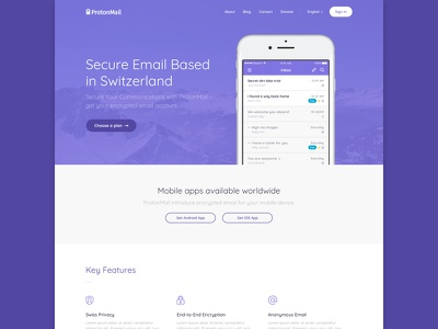 Mailing app app purple clean email concept design ux ui