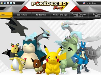 12 Pok 323 Pkedex 3d Pro Homepage V02.06 web web design pokémon parallax 3d photoshop illustrator design