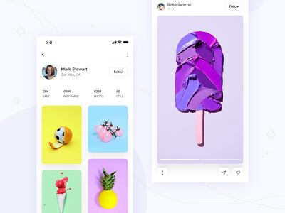 Photo sharing app 3 app ui