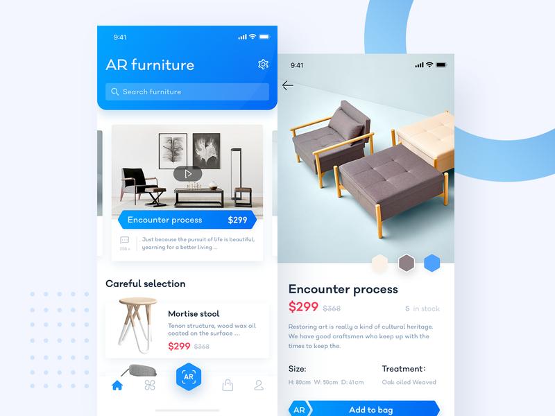 AR Furniture app ui