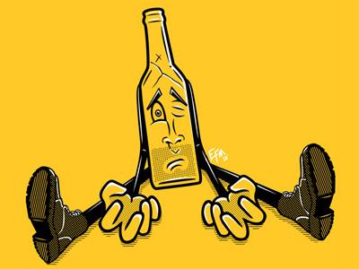 Drunk Bottle character graphicdesign vector illustration