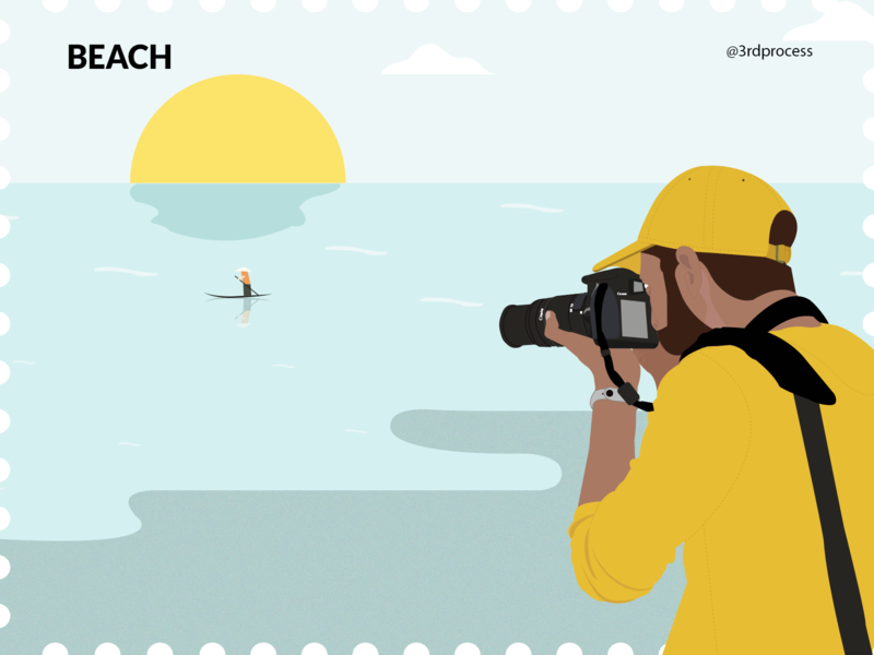 Beach - Day13 sunset sea sunrise boat photoshoot dslr camera photographer photography beach simpleillustration simple illustrator vector illustration flat design 100daysofillustration 100dayschallenge