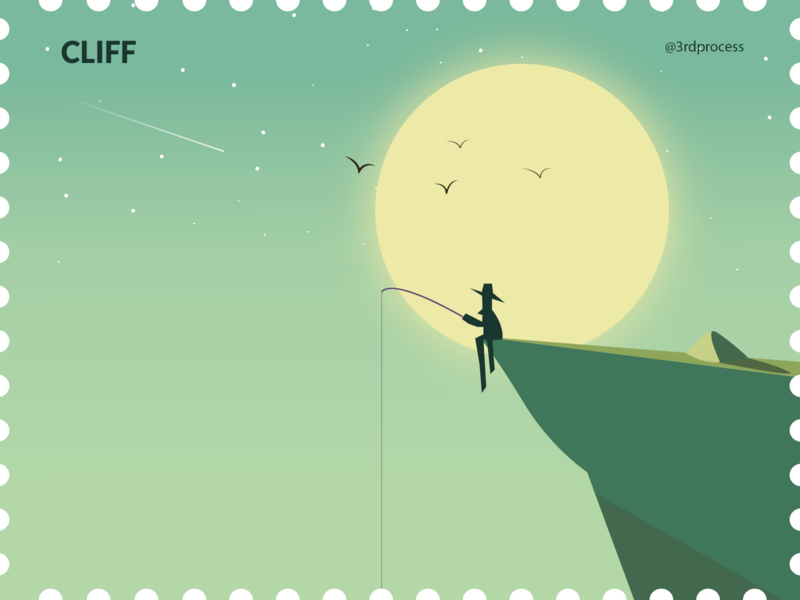 Cliff - Day14 cliffs night moon moon night cliff simpleillustration simple illustrator vector illustration flat design 100daysofillustration 100dayschallenge