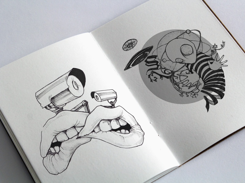 Sketchbook #1 cctv alien artwork drawingart geometic futurism weird drawing illustration design